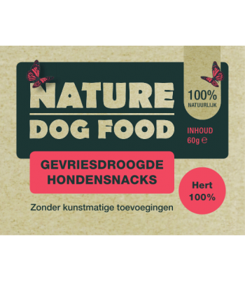 Nature Dog Food Gevriesdroogde Hondensnacks 100% Hert