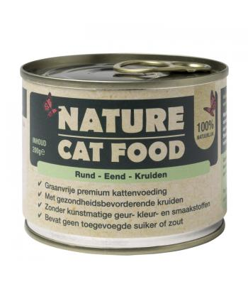 Nature Cat Food Premium Natvoer Rund, Eend & Kruiden 6*200g
